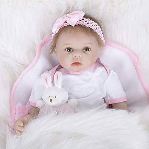 Unexceptionable-Dolls Reborn Puppe Mädchen Puppe Baby Mädchen 22 Zoll Silikon Vinyl-lebensechte handgemachte süße Kinder / Teen ungiftig Kinder Unisex Spielzeug Geburtstag, White_White_Skin
