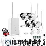 ANNKE WiFi Überwachungskamera Set 4CH 960P Wireless NVR System mit 1TB Festplatte Überwachungsset mit 4X 1.3MP 960P WLAN Outdoor IP Überwachungskamera, Kabellos,30M IR Nachtsicht