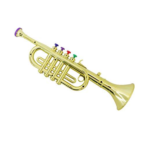 Horn Blasinstrument mit 3 farbigen Tasten Kinder Trompete (farben auswählen) - Gold