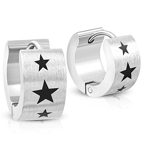 BlackAmazement 2er Set Paar Klapp Creolen Ohrringe Edelstahl Silber Sterne Stern Shining Stars (Ohrringe Black Star)