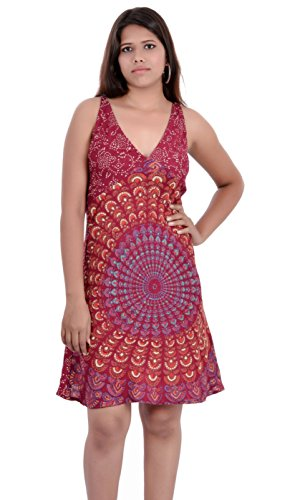 Indi Bargain Rayon Women's midi/short evening/beachwear Dress (Maroon)