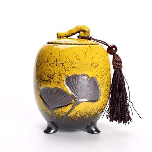 ZYHJAMA Cenicero de cremación de cerámica de Barro para Mascotas y Ceniza Humana, Puede Contener 50 Pulgadas cúbicas de tamaño Medio Gris