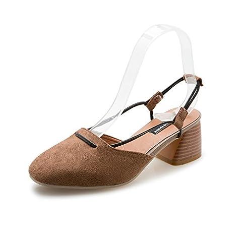 KAI-baotou coach avec la personnalité la personnalité de baotou chaussures mode mode rétro pantoufles avec femmes nues,le kaki,trente -