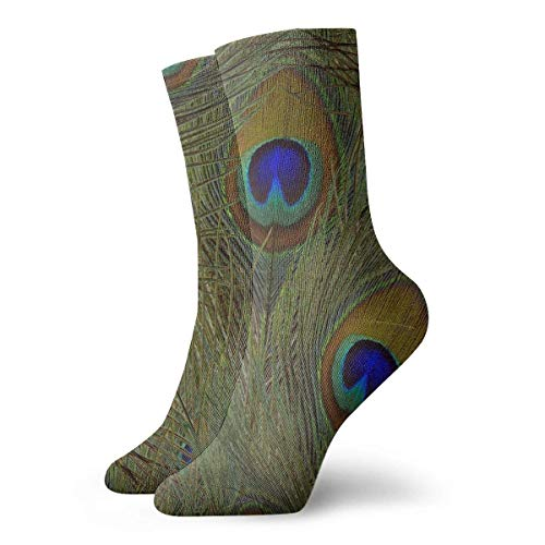 deyhfef Green Peacock Crew Socks Casual Funny for Sports Boot Hiking Running Etc.