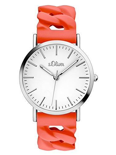 s.Oliver Damen Analog Quarz Uhr mit Silikon Armband SO-3506-PQ