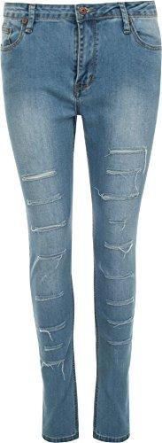 WearAll - Femmes Des Jambes Maigres étendue Stonewashed Hipster Ripped Jeans - Femmes - Jeans - Tailles 34-42 Bleu