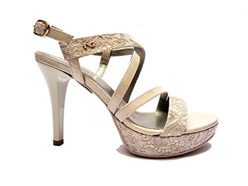 Nero Giardini 15780D sandali da donna in pelle/vernice col. Sabbia tacco cm. 11 plateau cm. 3, num.39