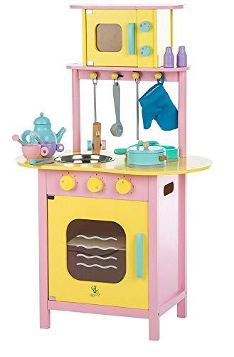 Spielküche aus Holz mit Backofen & Mikrowelle | Umfangreiches Zubehörset | Ausgestattet mit Backofen, 2 Kochplatten, Mikrowelle, Spüle und schwenkbarem Wasserhahn | Liebevoll & Farbenfroh Gestaltet