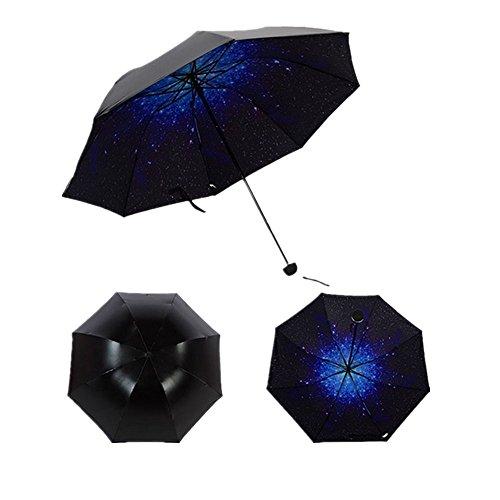 Ziwater Faltbar Regenschirm Vinyl Sonnenschirm UV-Schutz Gänseblümchen Taschenschirm Reise Damen Schirm (Stern)