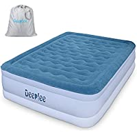 Deeplee Queen Size Air Bed, Air Mattress Flocked Raised Airbed for Guest,Rest,Travelling,Built-in Air Pump,Storage Bag,Height 46 cm