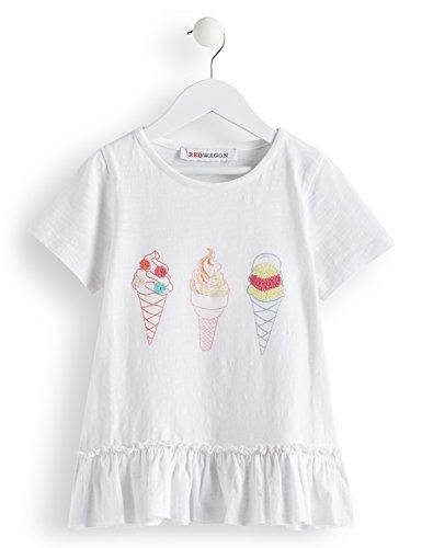 RED WAGON Mädchen T-Shirt mit Eiscreme-Motiv Weiß (WHITE WHITE), 128 (Herstellergröße: 10)