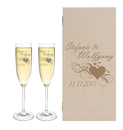 2 Leonardo Sektgläser mit Geschenkbox und Gravur Herz Hochzeit Geschenkidee Sektglas-Set graviert