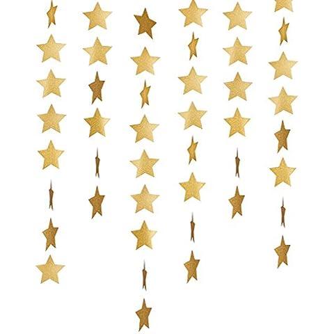 Outus Guirnalda de Papel de Estrellas Pancartas Banderines Golgantes para Decoraciones de Fiesta de Boda Cumpleaños Baby Shower, 4 Pulgadas, Dorado, 5
