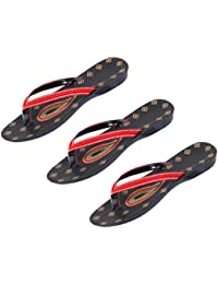 IndiWeaves Combo Pack Of 3 Pair Of Stylish Women Sandal-Black/Red