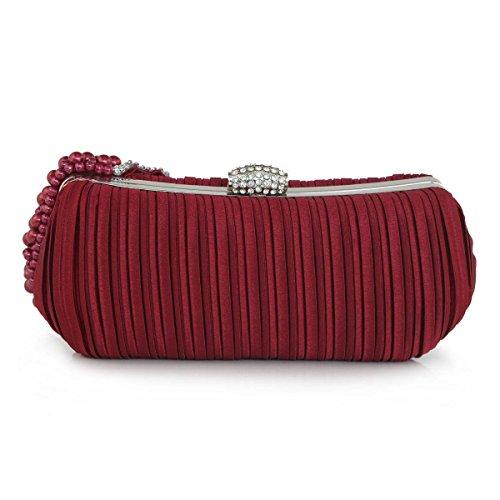 Frauen Satin-Kupplungs-Abend-Kupplungs-Geld Hochzeit Prom Handtaschen Red