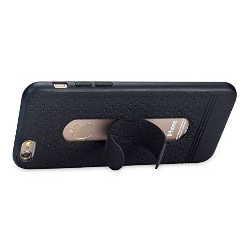 GR 3D Texture Faltbarer unsichtbarer Halter TPU + PC Kombinationsetui mit Halter für IPhone 6 & 6s ( Color : Gold ) Black