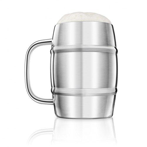 Final Touch Stainless Steel Beer Keg Mug Tankard Edelstahl Groß Doppelwandig glas Biergläser Bierkrug - 1 Liter -FTA1700