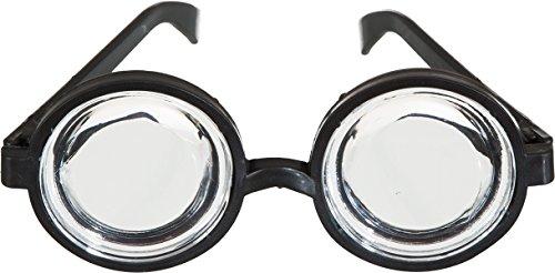 Doofi-Brille, schwarz mit dicken (Nerd Brille Kostüm)