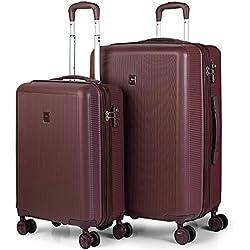 JASLEN - Juego Set 2 Maletas Trolley 50/60 cm ABS Texturizado. Rígidas, Resistentes y Ligeras. 4 Ruedas Dobles. Candado TSA. Pequeña Low Cost 171015, Color Granate