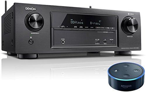 Denon AVRX1400H 7.2-Kanal AV-Receiver (HEOS Integration, Dolby Vision Kompatibilität, Dolby Atmos, dtsX, WLAN, Bluetooth, Amazon Music) schwarz +  Amazon Echo Dot (2. Generation), Schwarz