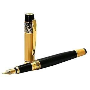 Generic Imported New Hero 901 Medium Nib Fountain Pen Luxury Black & Gold Stainless