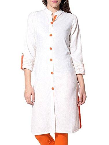Raploch Cotton Solid Plain Casual Kurti (White & Orange - X-Large)