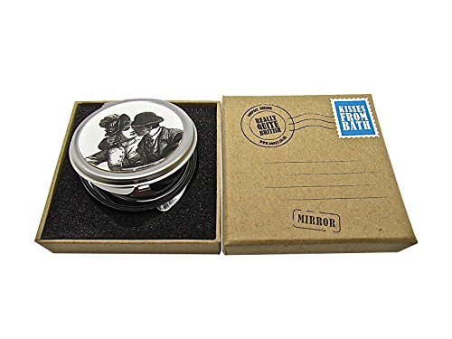 - 411jHrIKPaL - Assorted Vintage Compact Pocket Mirror Kisses In Box Retro Black White Couple Shabby Chic Rustic Metal Gift Present Ladies Folding Make Up Cosmetic Travel Handbag Magnifier