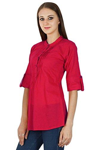 Boho Sundress Top Robe Tunique Vêtements Pour En Coton Solide Rouge cramoisi