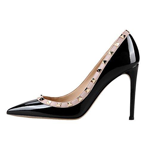 EKS Damen Fllosacf Patch Arbeitskante mit Nieten Stollen High Heels Pointed toe Pumps Kleid Schuhe plus size EU 35-46 Schwarz-Lackleder