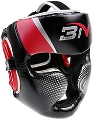 MagiDeal Casco de Desmontable MMA Protector de Cabeza Accesorio de Boxeo Artes Marciales de Ajustable - Rojo