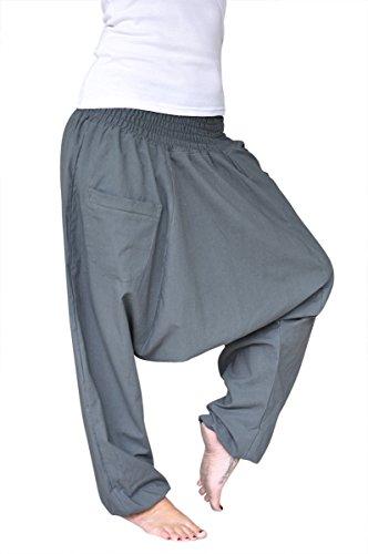 pantalones harem virblatt color único talla única con entrepierna profunda Unisex S – L, pantalones Aladino con bolsillos con cremallera – Unüberlegt Grigio