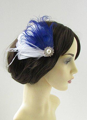 Blanc et bleu royal argent plume de paon Pince à cheveux Bibi pour mariage ANNÉES 9 AP * * * * * * * * exclusivement vendu par – Beauté * * * * * * * *