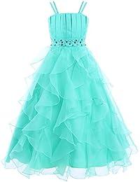 iEFiEL Vestido Largo Elegante de Ceremonia Boda Fiesta Disfraces Princesa Vestido de Gala para Niña