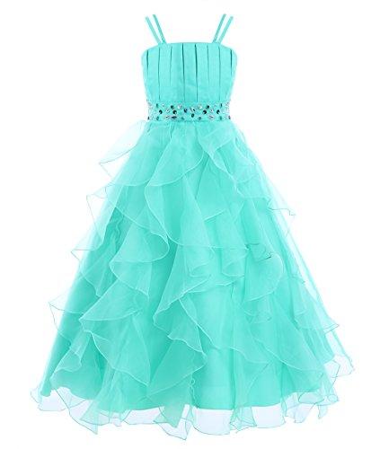 iEFiEL Vestido Largo Elegante de Ceremonia Boda Fiesta Disfraces Princesa Vestido de Gala para Niña Turquesa 10