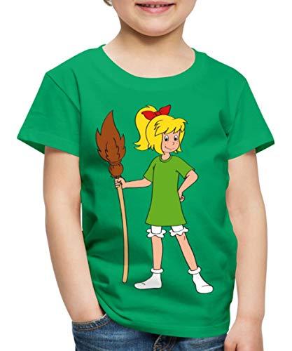 Bibi Blocksberg Mit Ihrem Besen Kartoffelbrei Kinder Premium T-Shirt, 110/116 (4 Jahre), Kelly Green (Green Kleider Kelly)