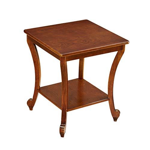 C-Bin1 Table basse, Coffee Shop Table carrée en bois Double couche Design Salon Table à thé Canapé Côté Chambre Table de chevet Table de loisirs confort (taille : 50 * 50 * 57.5CM)