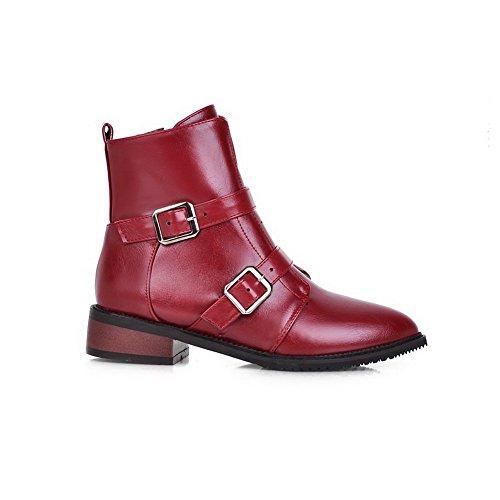 VogueZone009 Damen Reißverschluss Niedriger Absatz Pu Leder Rein Niedrig-Spitze Stiefel Rot