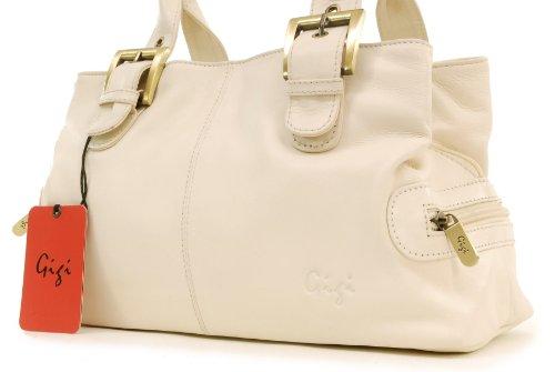 """Handtasche Leder """"Othello"""" von Gigi - GRÖßE: B: 30,5 cm, H: 17,5 cm, T: 13,5 cm Elfenbein (Crème)"""
