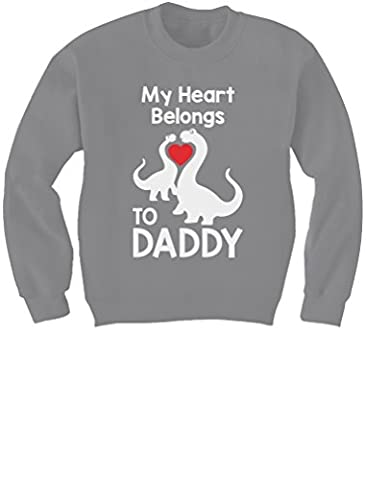 Cute Dino Love - My Heart Belongs To Daddy Gift Idea Kids Sweatshirt X-Large Gray