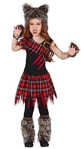 Mädchen Schottenmuster Rot Werwolf Animal Wolf Halloween Kostüm Kleid Outfit 3-12 jahre - Schwarz, EU (Kostüm Halloween Mädchen Wolf)