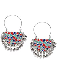 Prita Oxidized Silver Afghani Tribal Dangler Hook Chandbali Earrings For Girls And Women