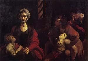Peinture à l'huile - 24 x 17 inches / 61 x 43 CM - Joshua Reynolds - Ugolin et ses enfants