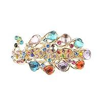 Ladies Gold Tone Metal Diamante Crystal Hair Barrette Peacock (7cm Multicoloured)