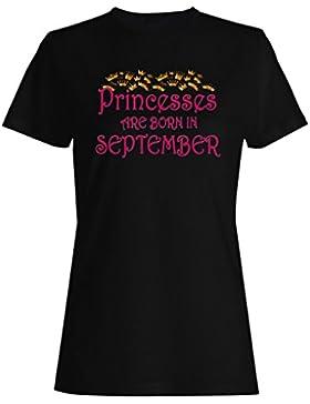 Las princesas nacen en septiembre Novedad camiseta de las mujeres s97f