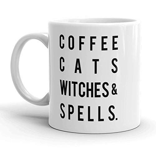 Coffee Cats Witches And Spells Mug Funny Halloween Coffee Cup - 11oz