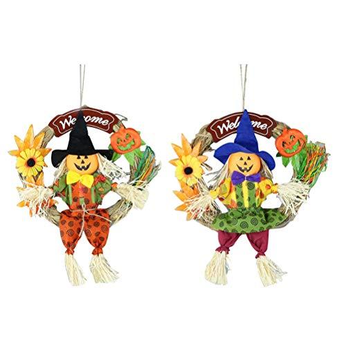 SUPVOX 2pcs Halloween Dekoration Vogelscheuche Kranz, kleine hängende Vogelscheuche Dekoration für Garten, Haus, Hof, Veranda, Thanksgiving Decor