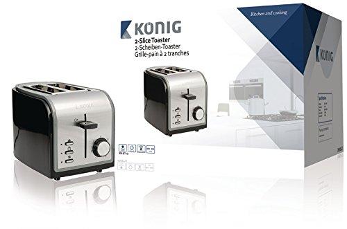 KÖNIG KN-BT10 Grille-Pain Noir/Argent 800 W