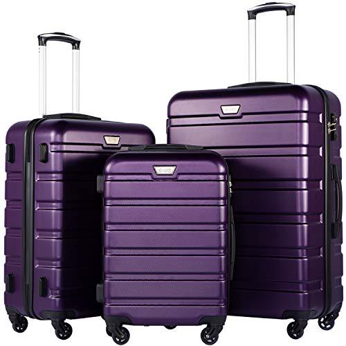 COOLIFE Hartschalen-Koffer Trolley Rollkoffer Reisekoffer mit TSA-Schloss und 4 Rollen(Violett, Koffer-Set)