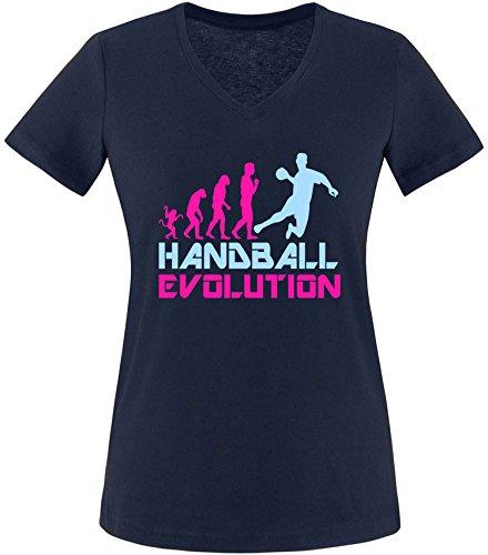 EZYshirt® Handball Evolution Damen V-Neck T-Shirt Navy/Pink/Hellbl