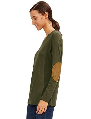 ROMWE Damen Langes T-Shirt Locker Casual Basic Hundhals Patch Langarmshirt Top Oberteil Armee Grün